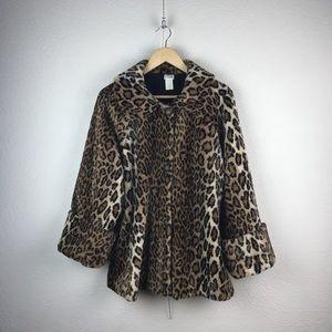 Vintage l Pashi Faux Fur Leopard Pinup Swing Coat